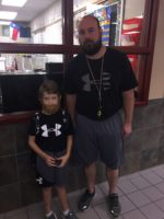 Mr. Kirbo and Student dressed as twins for Twin day